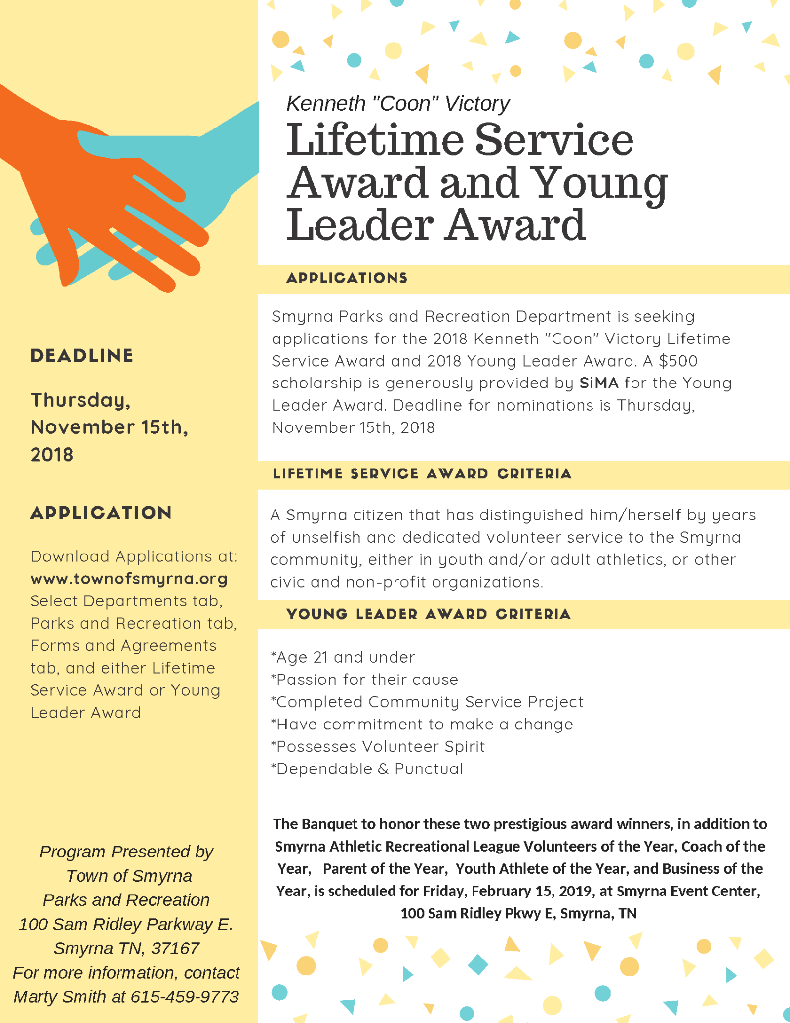 Lifetime Service and Young Leader Award 2018